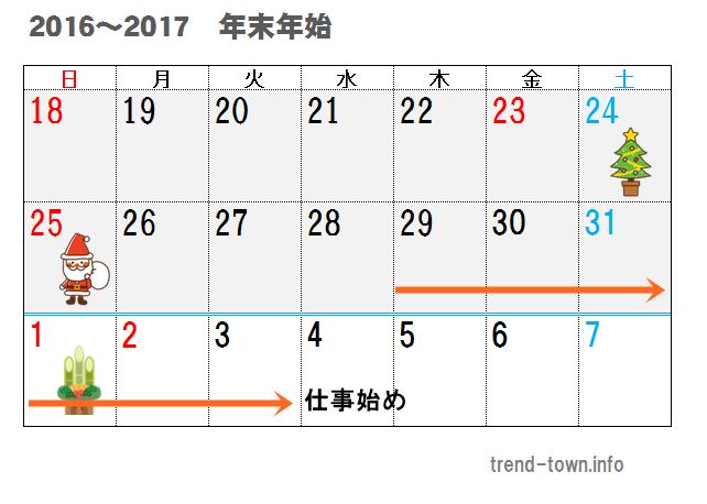年末年始2016-2017