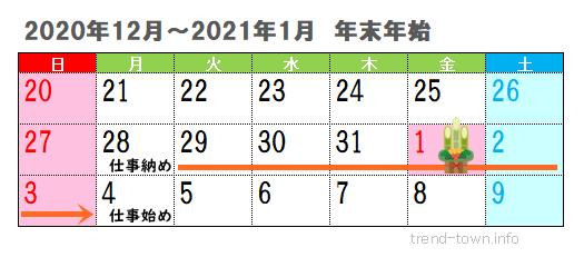 年末年始休み2020-2021年