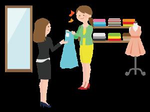 洋服を買う女性