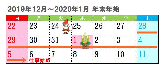 年末年始休み2019-2020