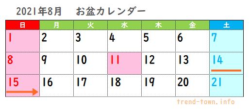 2021年お盆休み(お盆休み(行政機関・銀行・郵便局))