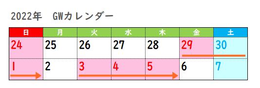 2022年ゴールデンウィーク期間(行政・銀行・郵便局)